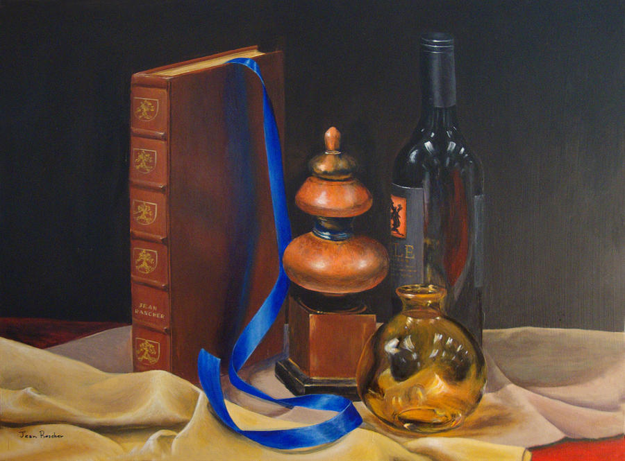 Book Painting - Blue Ribbon by Jean Rascher