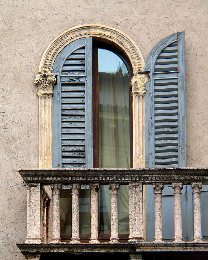 Blue shutters and balcony in verona italy photograph by for Balcony in italian