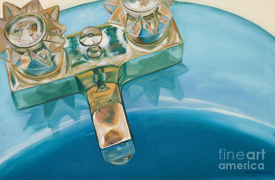 Sink Painting - Blue Sink by Aaron Wilbers
