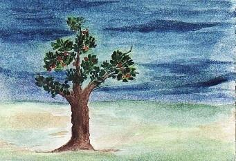 Landscape Painting - Blue Sky And A Tree by Nasir Iqbal Chaidhri