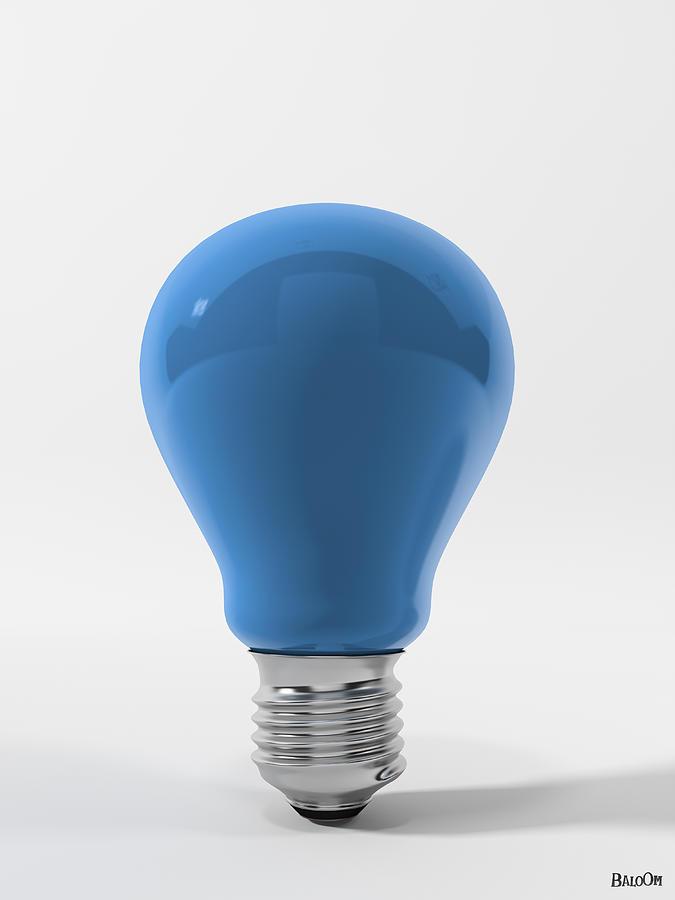 Cgi Digital Art - Blue Sky Lamp by BaloOm Studios