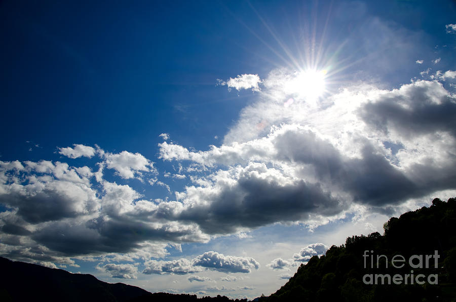 Blue Photograph - Blue Sky With Clouds by Mats Silvan