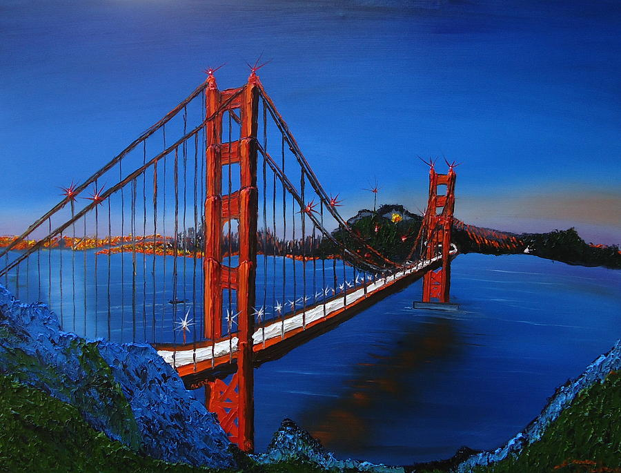 Blue Sky S Of Golden Gate Bridge 7 Painting By Dunbar S Modern Art