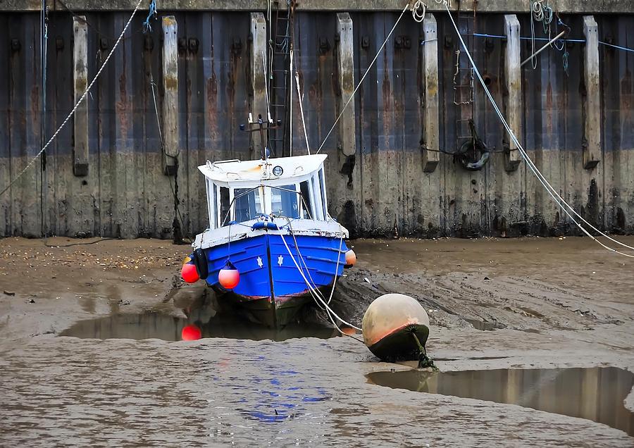 Anchored Photograph - Blue Small Boat by Svetlana Sewell