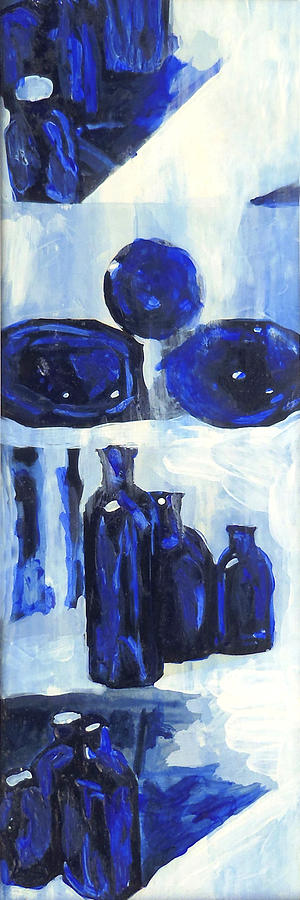 Blue Still Life Painting by Hatin Josee