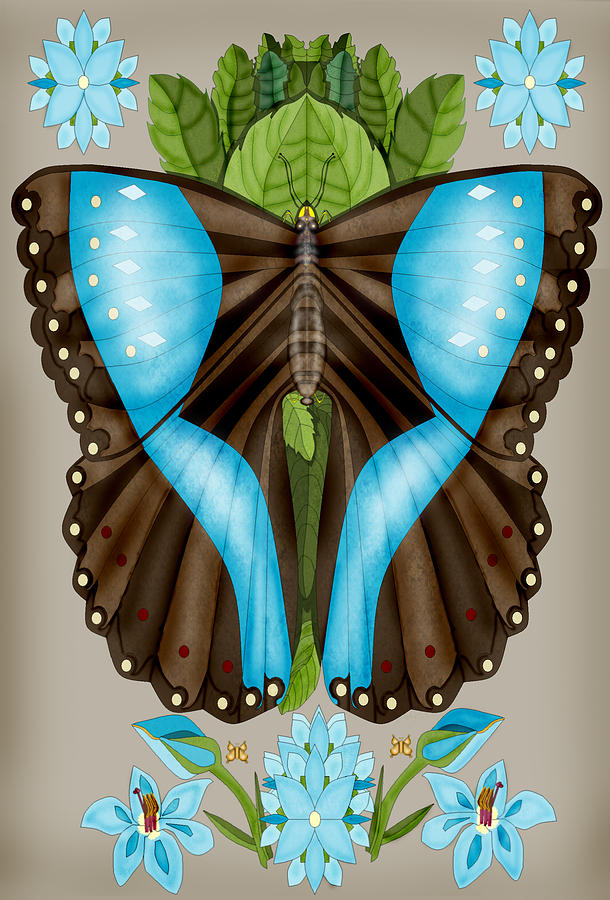 Blue Butterfly Painting - Blue Tiled Butterfly by Anne Norskog