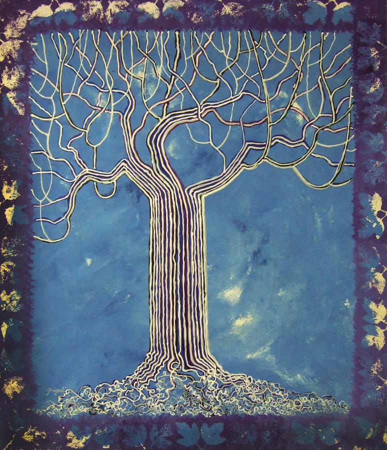 Nature Painting - Blue Tree by Alain  Guiguet