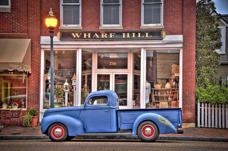 Blue Truck On Main Street Photograph by Williams-Cairns Photography LLC