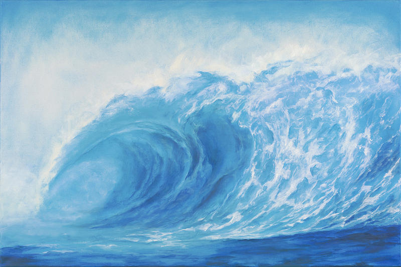 Blue Tsunami Wave Painting by Suzie Richey