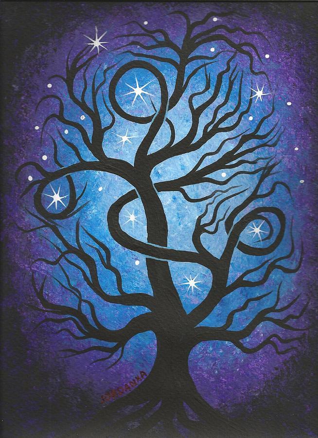 Blue Twisted Tree Painting By Jordanka Yaretz