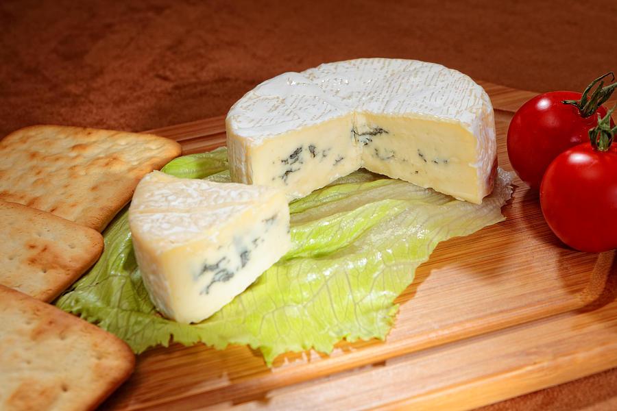 Camembert Photograph - Blue-veined Camembert by Paul Cowan