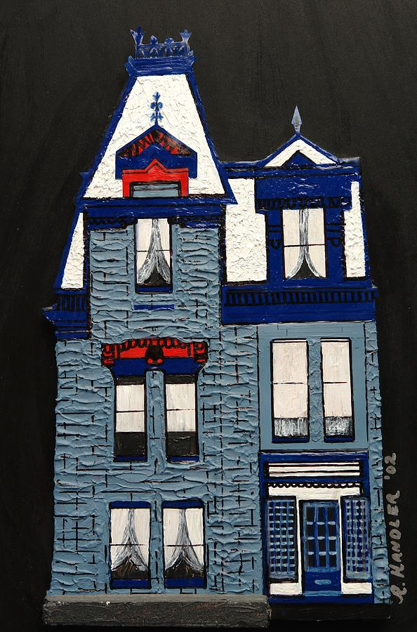 San Diego Painting - Blue Victorian Mansion Montreal by Robert Handler