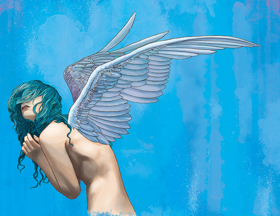 Angel Digital Art - Blue by Vincent Danks