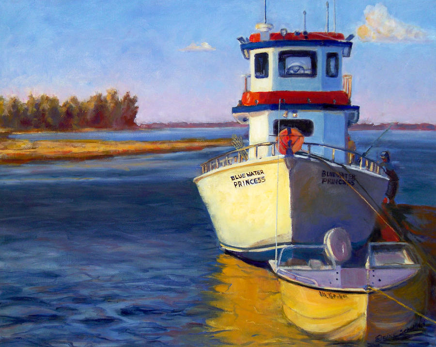 Blue water fishing boat painting by elaine schulstad for Fishing boat painting