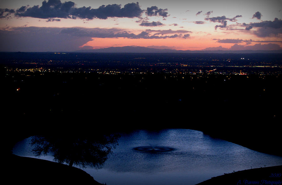 Tanoan Country Club Photograph - Blue Waters And City Lights by Aaron Burrows