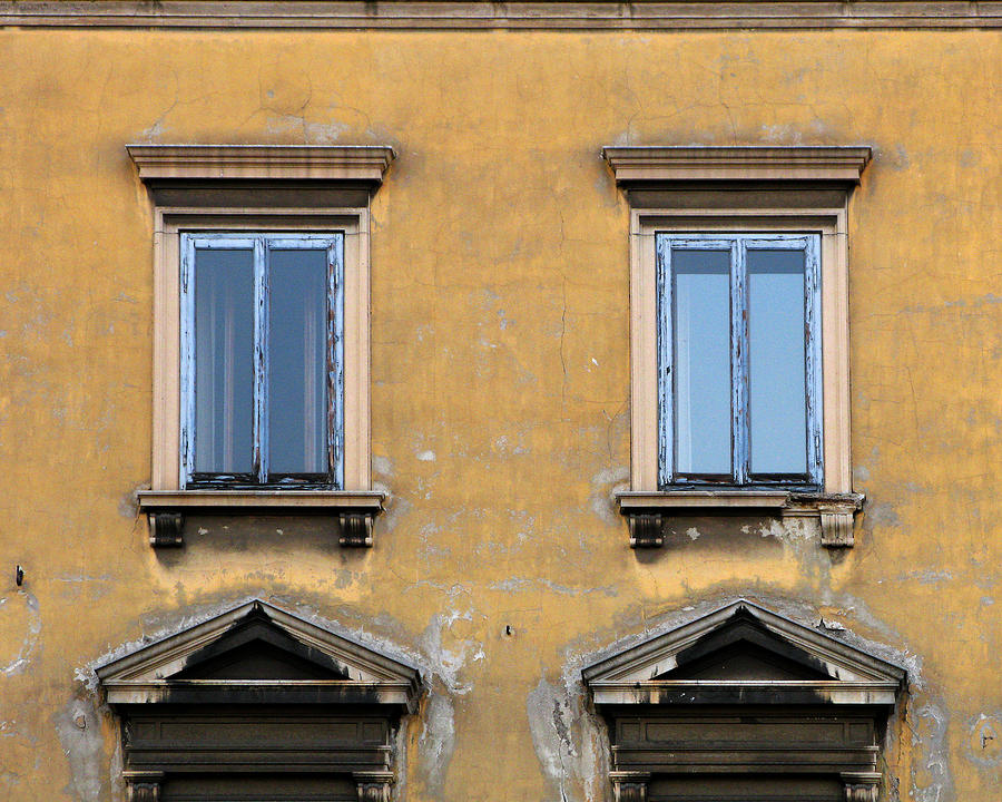 Windows Photograph - Blue Windows On A Yellow Wall In Milan by Greg Matchick