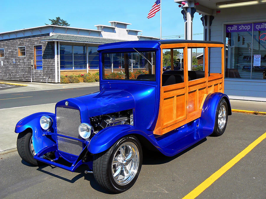 Ford Photograph - Blue Woody by Pamela Patch