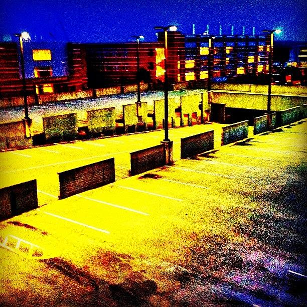 Summer Photograph - #blue #yellow#parkingdeck #night by Katie Williams