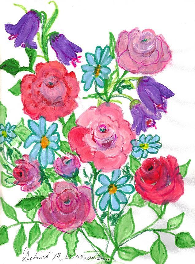 Painting Painting - Bluebells And Roses by Debbie Wassmann