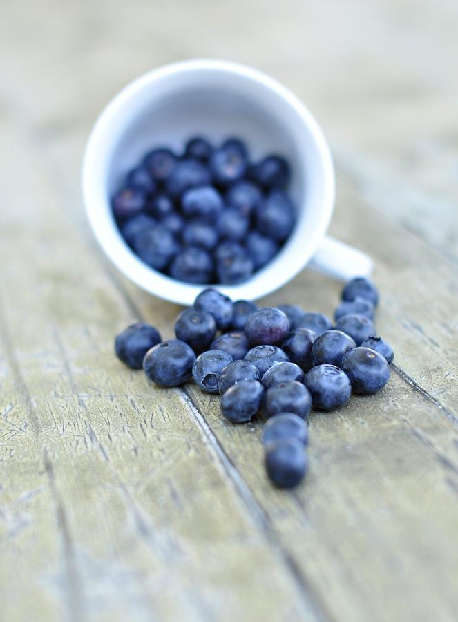 Vertical Photograph - Blueberries In Cup by Anna Hwatz Photography Find Me On Facebook