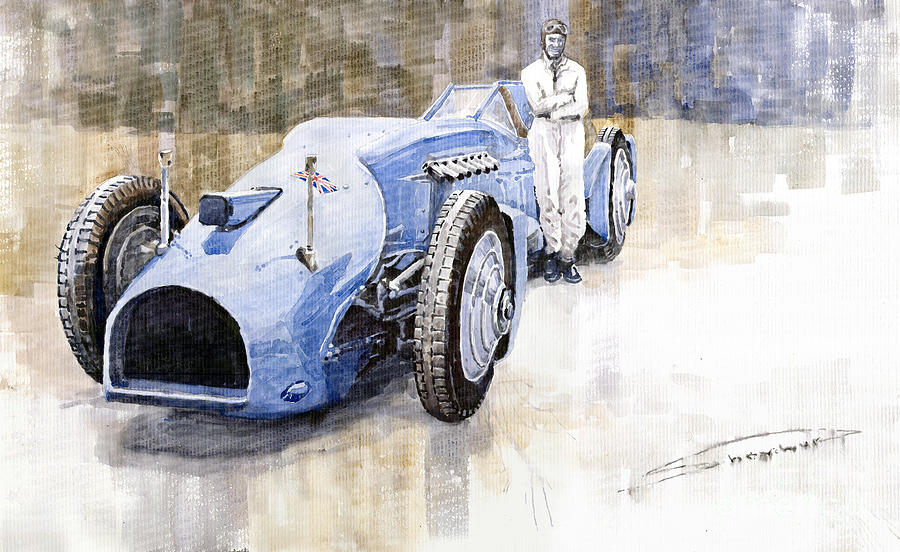 Watercolor Painting - Bluebird 1933 Daytona Malkolm Campbell by Yuriy Shevchuk