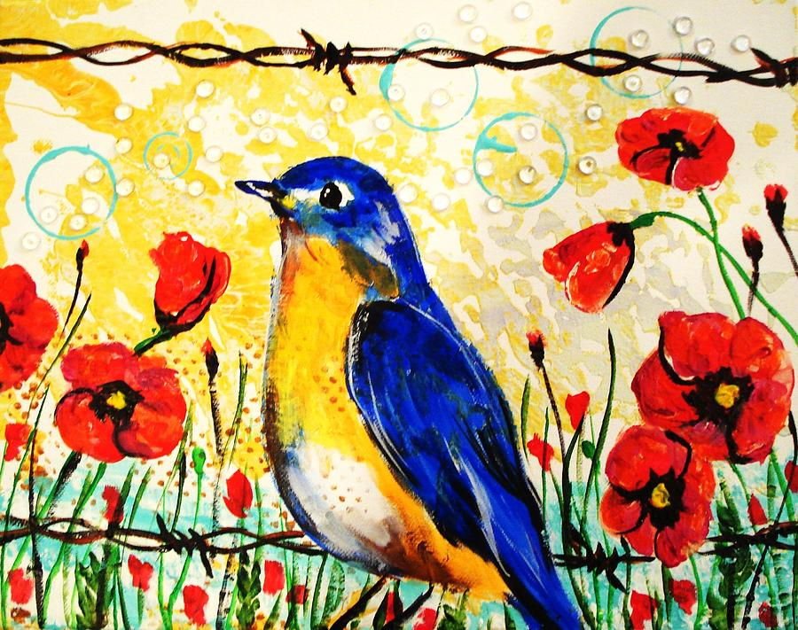 Blue Painting - Bluebirds2 by Paula Shaughnessy