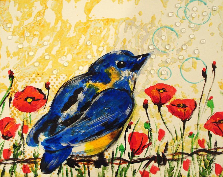 Blue Bird Painting - Bluebirds3 by Paula Shaughnessy