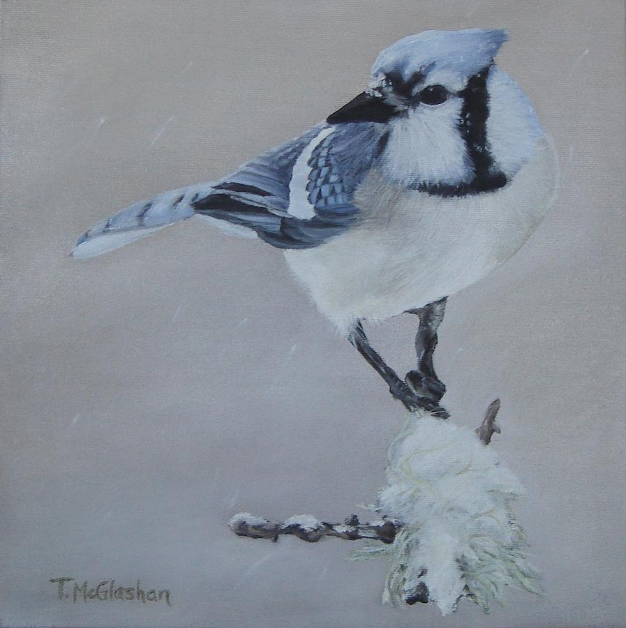 Bluejay Painting - Bluejay In Winter by Traci McGlashan