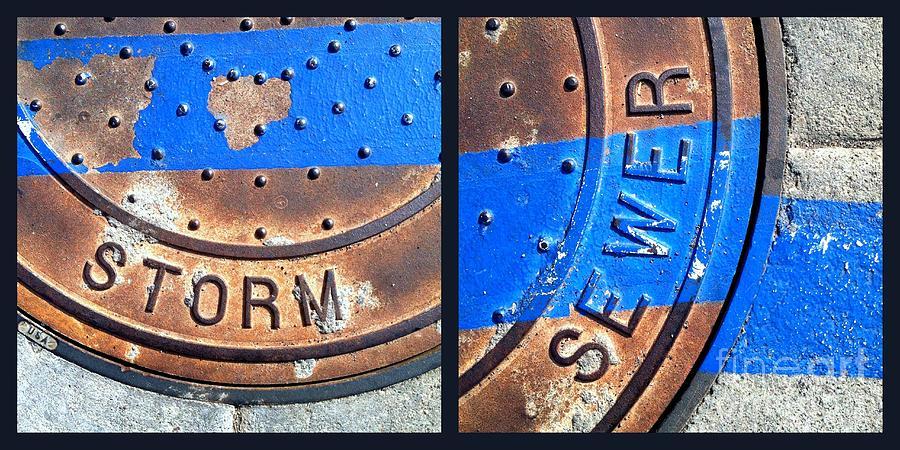 Arizona Photograph - Bluer Sewer Diptych by Marlene Burns