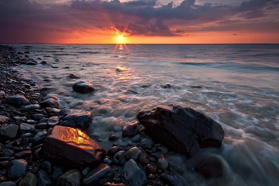 Color Photograph - Bluffs Beach Sunset 1 by Darren Creighton
