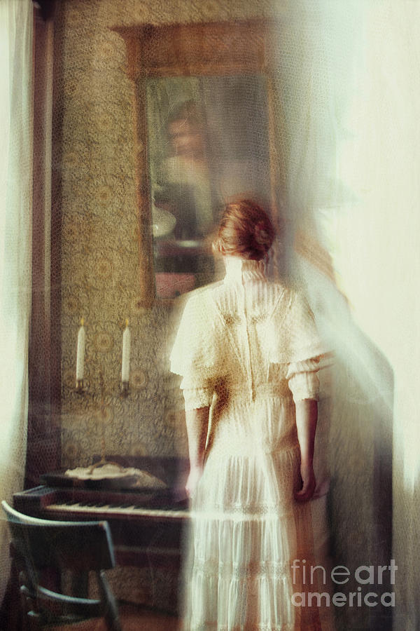 Atmosphere Photograph - Blurry Image Of A Woman In Vintage Dress  by Sandra Cunningham