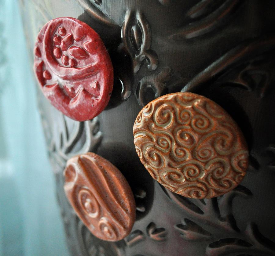 Amanda Ceramic Art - Blushing Beauties Set Of 3 Magnets by Amanda  Sanford