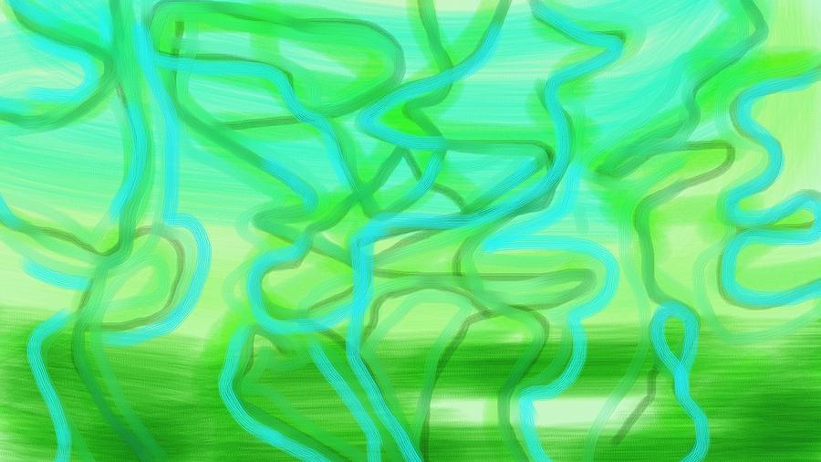 Blue Green Azul Verde Lines Color Light  Digital Art - Bluzul Vergreen II by Rosana Ortiz