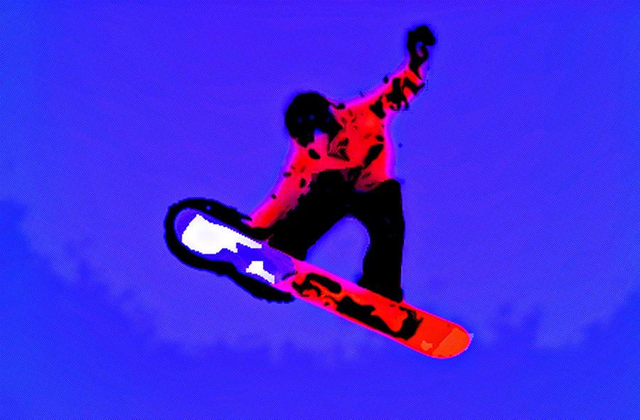 Snowboard Digital Art - Boarding by Rpics Rpics