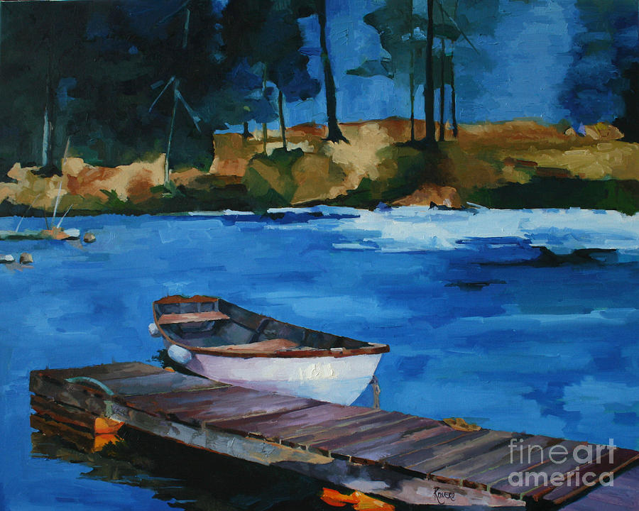 Seascape Painting - Boat And Bridge by Pepe Romero