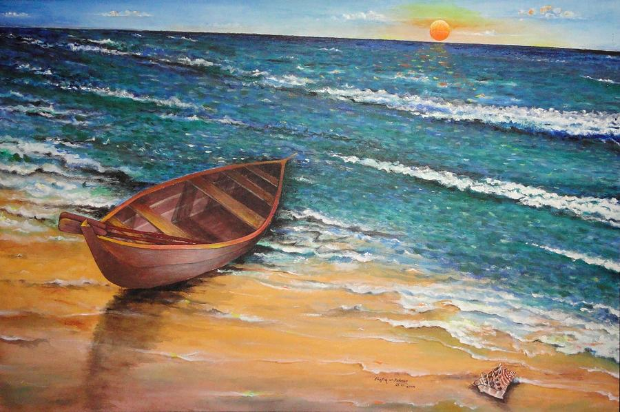 Boat And Sea Painting by Shafiq-ur- Rehman