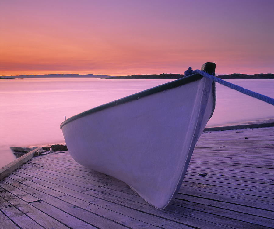 Boats Photograph - Boat At Dawn, Harrington Harbour, Lower by Yves Marcoux