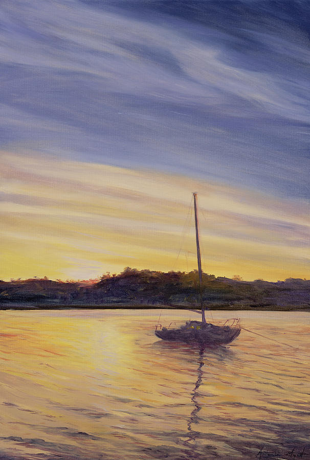 Moored; Anchored; Sailing; Mast; Evening; Sunset; Dusk; Reflection; Sea; Water; Atmospheric; Glow; Night; Shape; Landscape; Nocturne; Mast Painting - Boat At Rest by Antonia Myatt