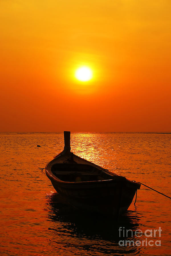 Beach Photograph - Boat In Sunset  by Anusorn Phuengprasert nachol