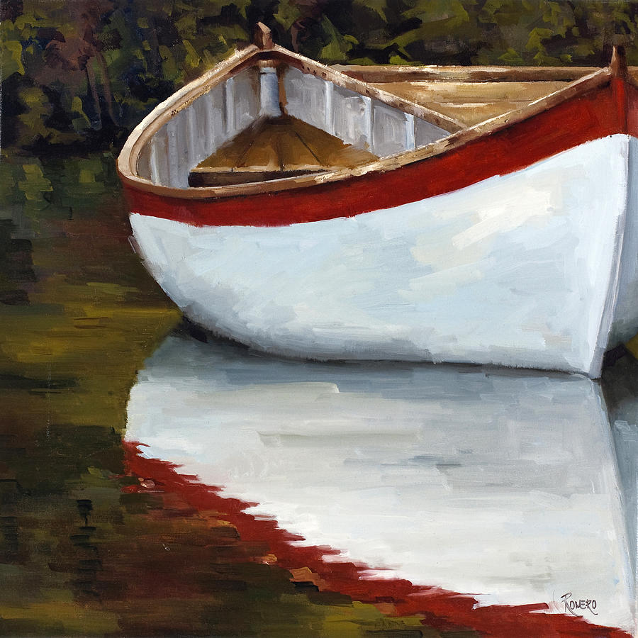 Boat Into The River Painting by Jose Romero