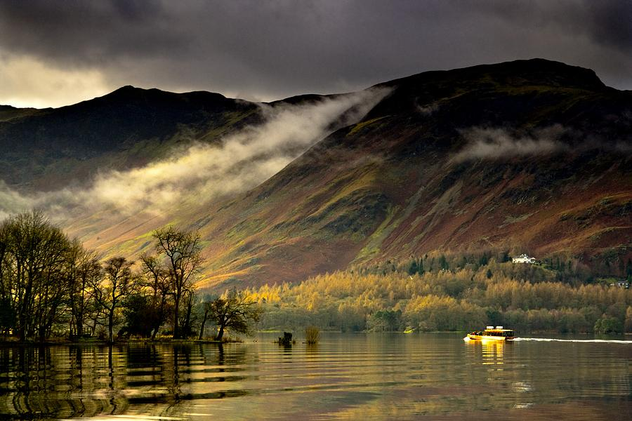 Attractions Photograph - Boat On Lake Derwent, Cumbria, England by John Short