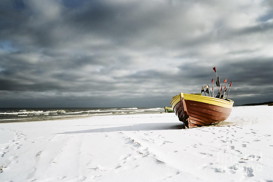 Boat Photograph - Boat On Snowy Beach by Agnieszka Kubica