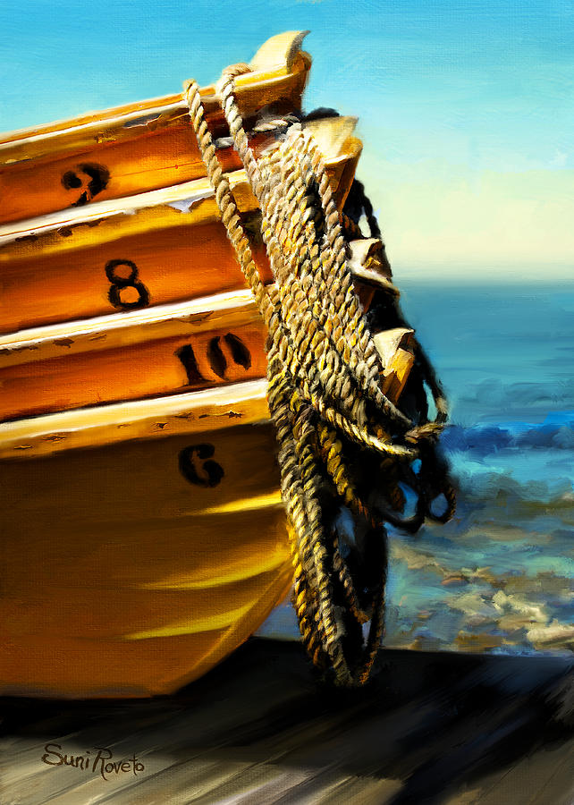 Boat Painting - Boat Ropes by Suni Roveto
