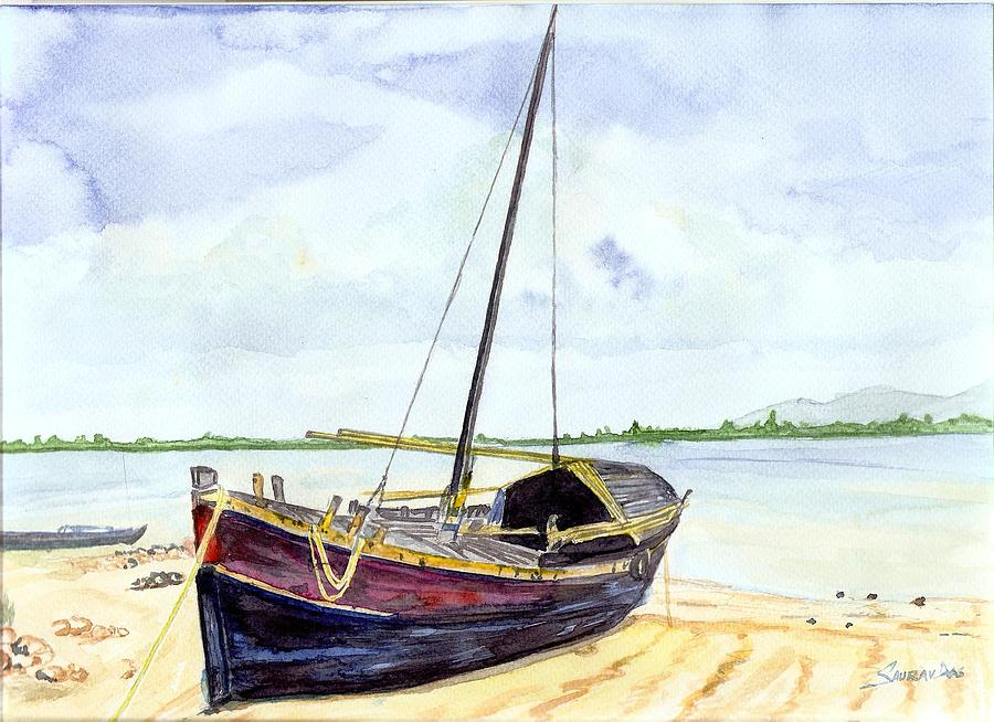 Landscape Painting - Boat by Saurav Das