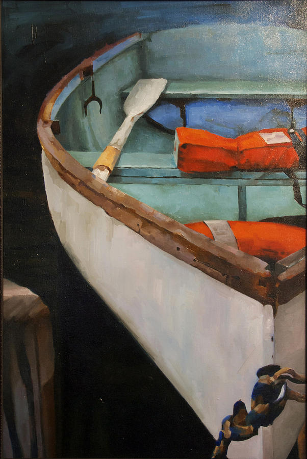 Botes Painting - Boat With Red by Jose Romero