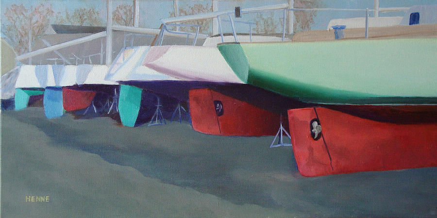 Sailboats Painting - Boat Yard Island Heights by Robert Henne