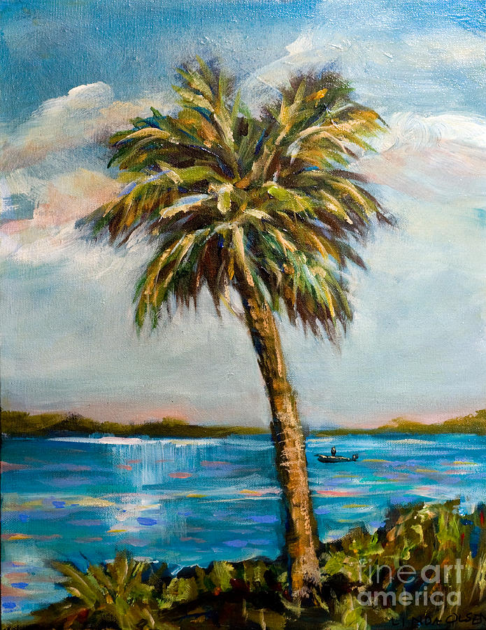Palm Painting - Boater On River by Linda Olsen