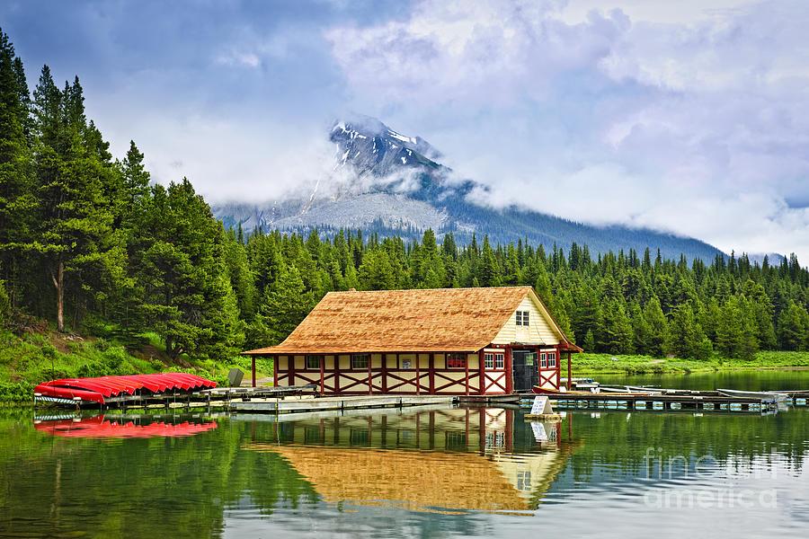 Boat House Photograph - Boathouse On Mountain Lake by Elena Elisseeva