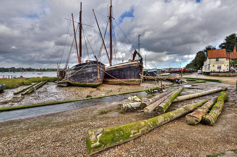Pin Mill Photograph - Boats And Logs At Pin Mill by Gary Eason