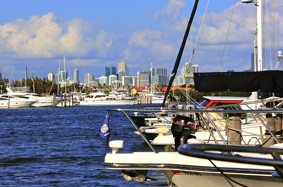 Marina Photograph - Boats And Miami by Dieter  Lesche